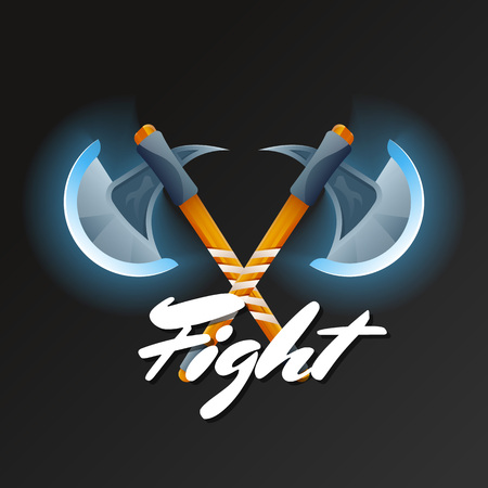 Fight game element with crossed hatchets. Shiny medieval weapon for computer game design. Confrontation versus sign, fight opposition concept, epic battle competition vector illustration.