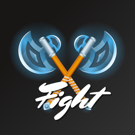 Fight element with crossed medieval hatchets. Shiny viking weapon for computer game design. Confrontation versus sign, fight opposition concept, epic battle competition vector illustration.