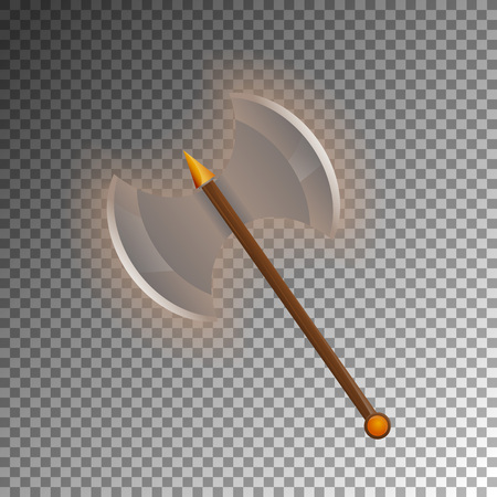 Medieval two blades axe icon. Shiny medieval weapon for computer game design. Fight decoration, fantasy battle vector illustration isolated on transparent background.
