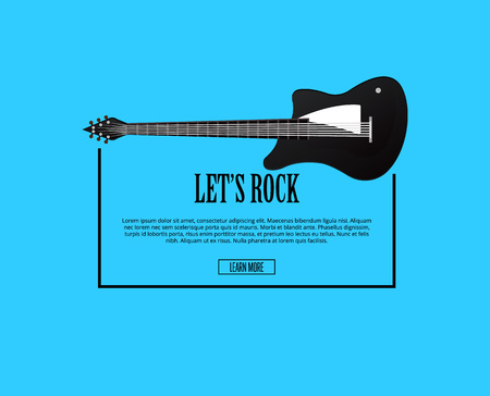 Let's rock poster with classic acoustic guitar in flat style. Music shop banner or musical rock-n-roll festival symbol isolated on blue background. Popular music entertainment vector illustration