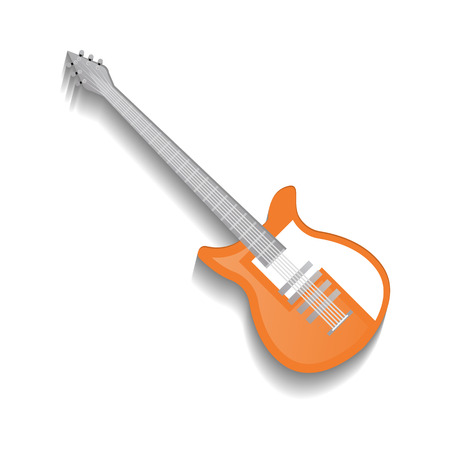Orange classic acoustic guitar icon in flat style. Popular music instrument for jazz, pop, rock and roll, metal music vector illustration isolated on white background.