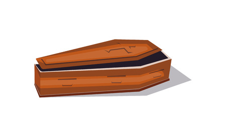 Wooden coffin cartoon icon. Halloween party symbol, festive horror event object isolated vector illustration.