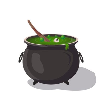 Potion cauldron cartoon icon. Halloween party symbol, festive horror event object isolated vector illustration.