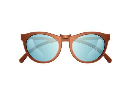 Trendy sunglasses icon. Elegant eyeglasses, fashion accessory isolated on white backogrund vector illustration.