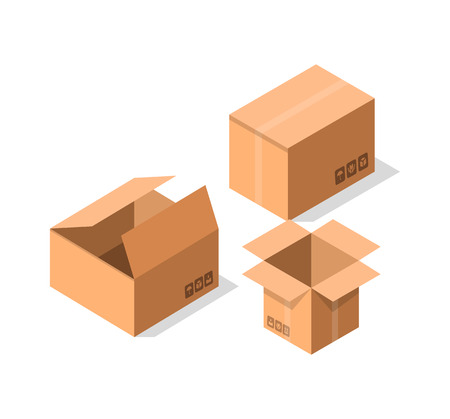 Empty postal cardboard boxes icon set. Delivery tare, goods package collection vector illustration isolated on white background in flat style.