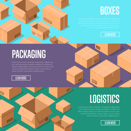 Delivery packaging and logistics advertising template with packing boxes.