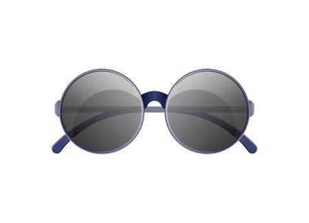 Round lens sunglasses icon. Elegant eyeglasses, trendy fashion accessory isolated on white background vector illustration.