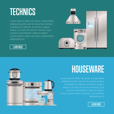 Kitchen electronic housewares Technics retail posters. Refrigerator, washing machine, toaster, electric kettle, air extractor, oven, multi cooker, kitchen mixer. Automatic household devices shopping.