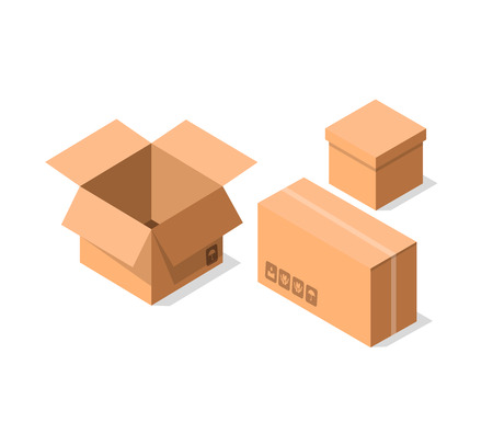 Delivery cardboard containers icon set. Shipping tare, goods package collection vector illustration isolated on white background in flat style.
