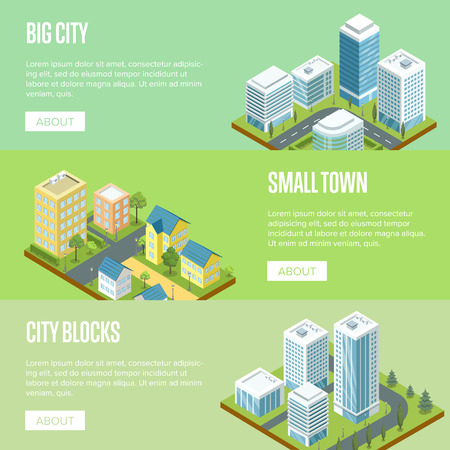 Modern big city architecture 3d isometric banners. Skyscrapers with shiny glass facades, city streets with green decorative plants. Downtown landscape, business district vector illustration.