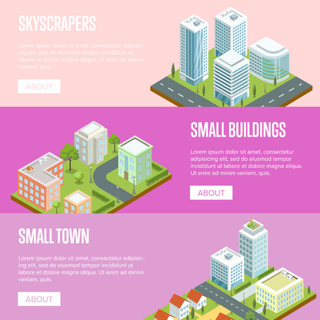 Business district 3d isometric banners. Skyscrapers with shiny glass facades, city streets with urban infrastructure and green decorative plants. Modern downtown landscape vector illustration.
