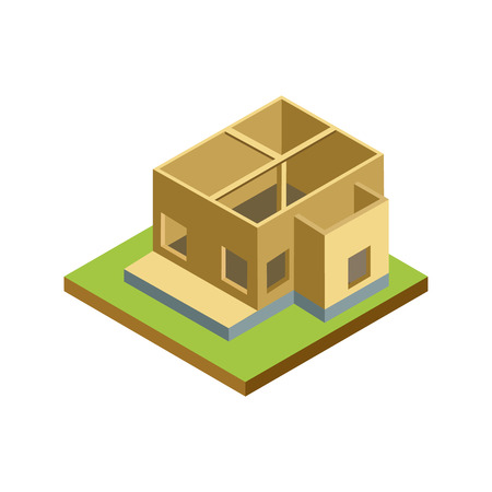House framework isometric 3D icon. Architectural engineering, construction stages of countryside house vector illustration.