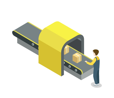 Worker near belt production line isometric 3D icon. Industrial goods production, mechanical conveyor manufacturing process, assembly line vector illustration. Иллюстрация