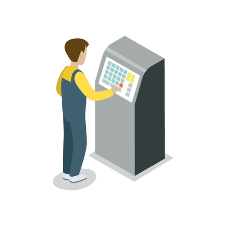 Operator assembly line isometric 3D icon. Industrial goods production, manufacturing process vector illustration.