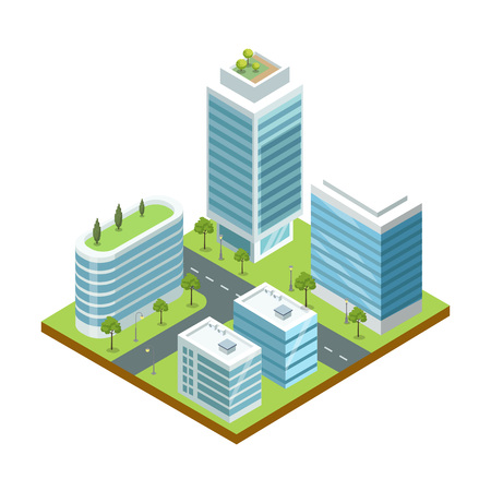Modern big city architecture 3d isometric icon. Skyscrapers with shiny glass facades, city streets with green decorative plants vector illustration.