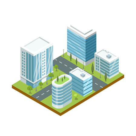 Modern business district 3d isometric icon. Skyscrapers with shiny glass facades, city streets with green decorative plants vector illustration.