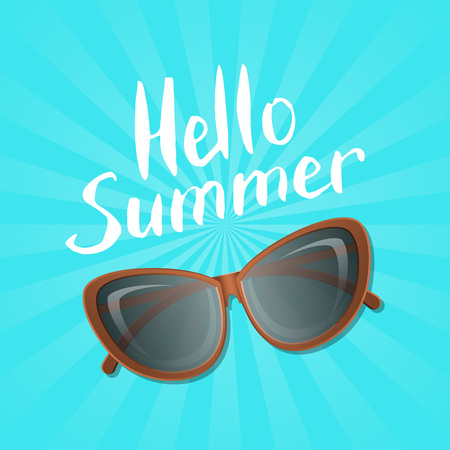 Hello summer poster with stylish womens sunglasses. Female elegant eyeglasses, fashion accessory vector illustration isolated on striped background. Summer beach vacation concept in flat style.