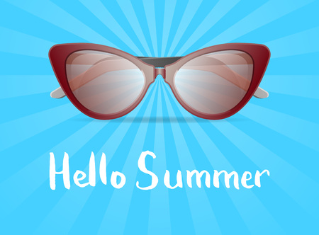 Hello summer poster with glamour womens sunglasses. Female elegant eyeglasses, fashion accessory vector illustration isolated on striped background. Summer beach vacation concept in flat style.