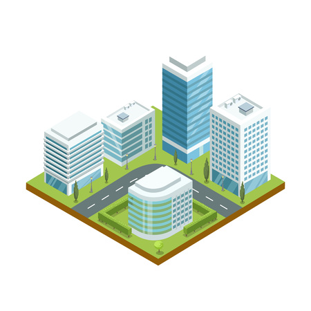 Modern downtown architecture 3d isometric icon. Skyscrapers with shiny glass facades, city streets with green decorative plants vector illustration.