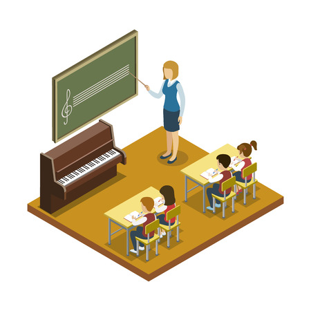 Music lesson at school 3d isometric icon. Children sitting at table in classroom and studying, teacher near blackboard vector illustration.