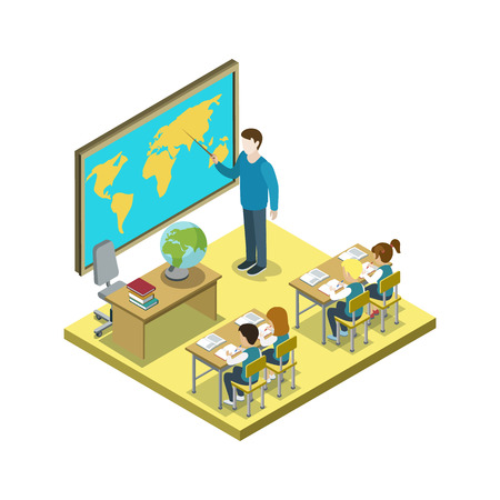 Geography lesson at school 3d isometric icon. Children sitting at table in classroom and studying, teacher near blackboard vector illustration. Illustration