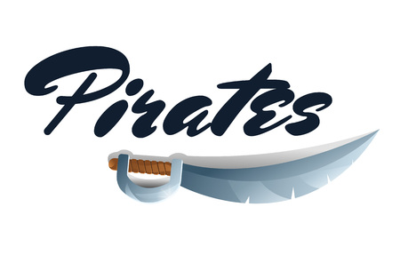 Pirates game element with sword. Fantasy battle competition vector illustration. Cartoon medieval weapon for computer game design.