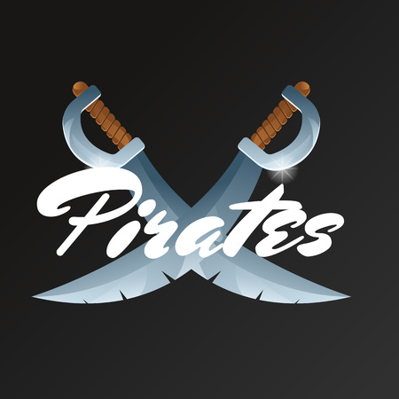 Pirates game element with crossed swords. Confrontation versus sign, fight opposition concept, pirate sabre vector illustration. Cartoon medieval weapon for computer game design.