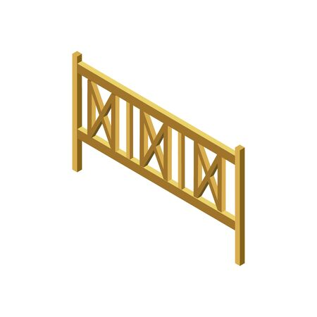 Fence picket isometric 3D icon. City street infrastructure protection element isolated vector illustration
