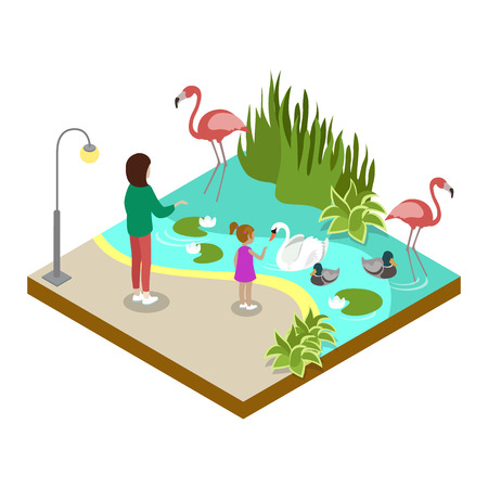 Cage with flamingos isometric 3D icon. Public zoo with wild animals and people, zoo infrastructure element for design vector illustration. Illustration