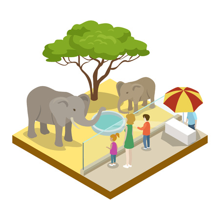 Cage with elephants isometric 3D icon. Public zoo with wild animals and people, zoo infrastructure element for design vector illustration.
