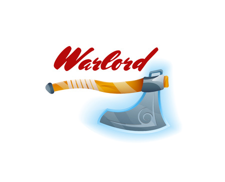 Warlord game element with tomahawk. Shiny medieval weapon for computer game design. Confrontation versus sign, fight opposition concept, epic battle competition vector illustration. Illustration
