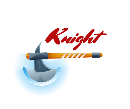Knight fight game element with ax. Shiny medieval weapon for computer game design. Confrontation versus sign, fight opposition concept, epic battle competition vector illustration.