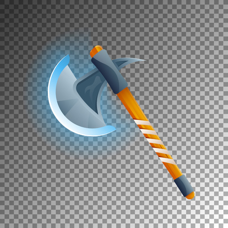 Fantasy medieval hatchet icon. Shiny medieval weapon for computer game design. Fight decoration, fantasy battle vector illustration isolated on transparent background. Illustration