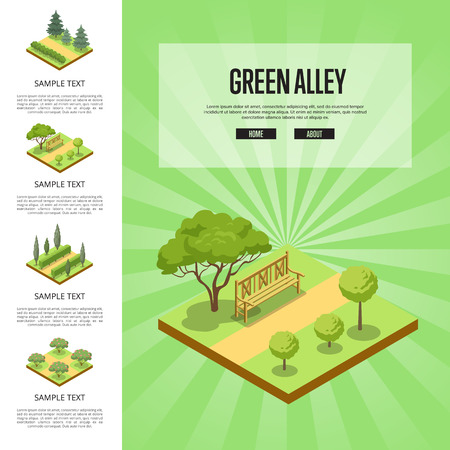 Natural parkland landscape with green alley isometric infographics.