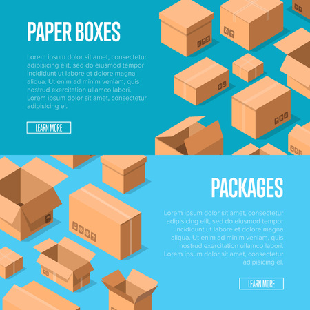 Delivery service advertising template with packing boxes.