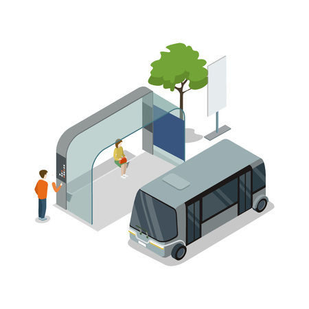 Shuttle bus stop isometric 3D icon. Vettoriali