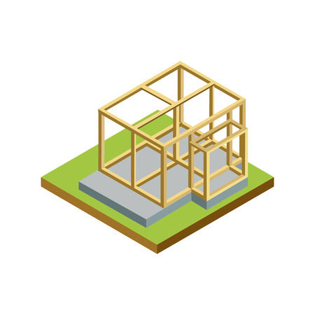 Construction structure of walls isometric 3D icon. Architectural engineering, construction stages of countryside house vector illustration.
