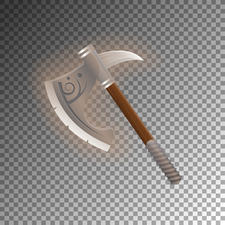 Fantasy medieval tomahawk icon. Shiny medieval weapon for computer game design. Fight decoration, fantasy battle vector illustration isolated on transparent background.