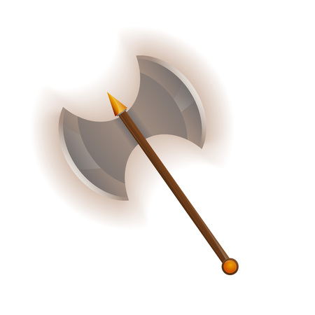 Medieval two blade battle ax vector icon. Decoration weapon for computer game design. Ancient viking arms isolated vector illustration.