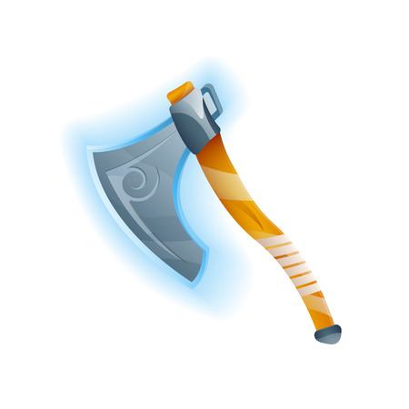 Fantasy game battle axe icon. Decoration weapon for computer game design. Ancient viking arms isolated vector illustration. Illustration