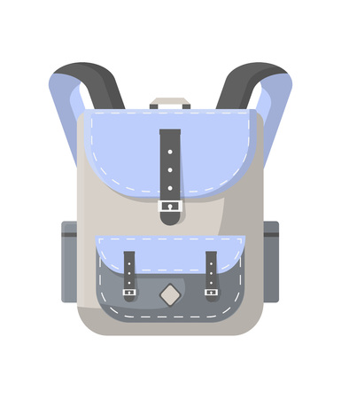 Travel rucksack icon. Camping and tourist backpack vector illustration isolated on white background in flat design.
