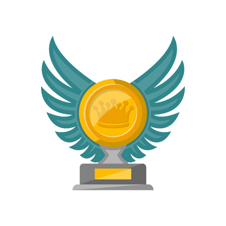 Golden trophy cup with glassy wings isolated on white background vector illustration.