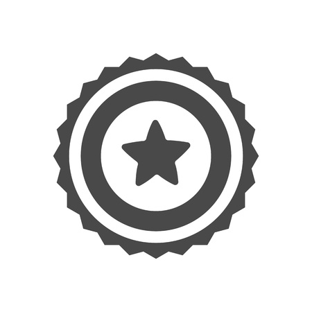Trophy icon with star isolated on white background. Championship ceremony label, winner competition sign, award symbol, success and victory vector illustration 写真素材