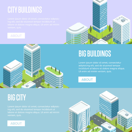 Modern cityscape with big buildings isometric banners. Skyscrapers with shiny glass facades, city streets with urban infrastructure and green decorative plants. Downtown landscape vector illustration.