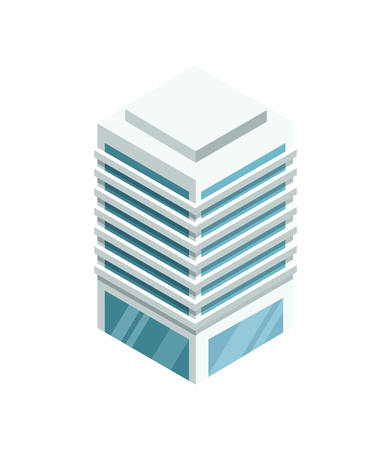 High building with shiny glass facade 3d isometric icon. Modern city architecture element, urban skyscraper vector illustration. Illustration