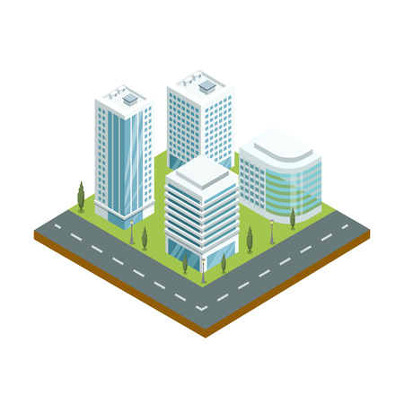 Skyscrapers with shiny glass facades 3d isometric icon. Modern downtown architecture, city streets with green decorative plants vector illustration.