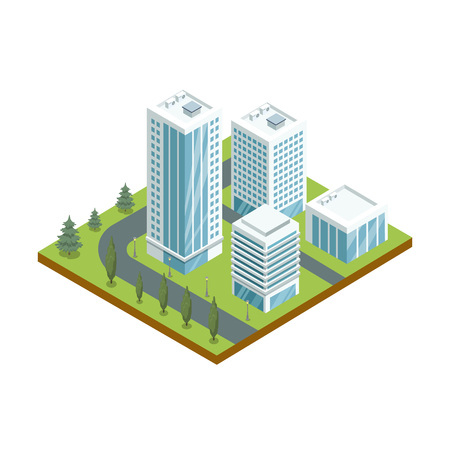 Multi-storey buildings with glass facades 3d isometric icon. Modern downtown architecture, city streets with green decorative plants vector illustration.