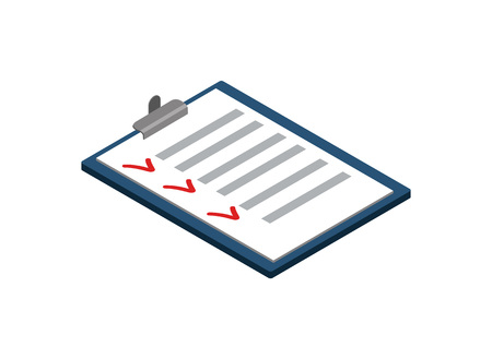 Survey or checklist isometric 3D icon. Interview or questionnaire list pictogram isolated vector illustration. Illustration