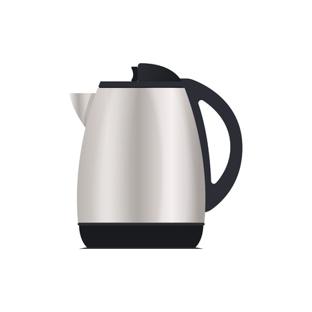 Electric kettle icon. Modern electronic appliance, realistic household device, kitchen interior equipment isolated vector illustration. 일러스트