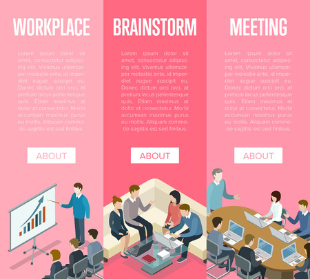 Corporate office life isometric 3D posters. Teamwork and working together concept with business people. Brainstorm and idea generation, business meeting with diagram presentation vector illustration.